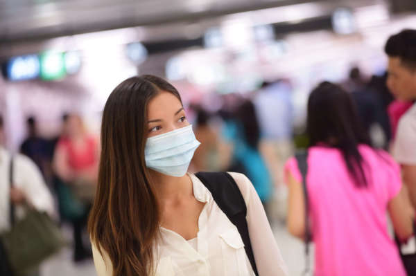 woman wearing surgical face mask to protect from coronavirus