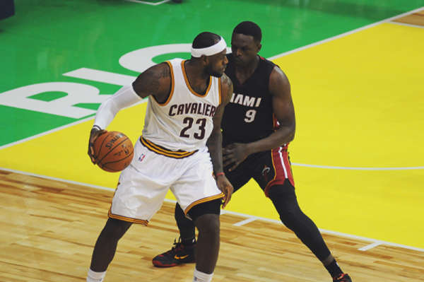 NBA basketball players on court during a game